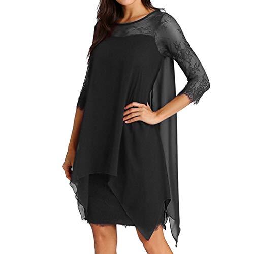IMJONO Frauen Chiffon überlagerung DREI viertel Sleeve Spitze Dress Oversize s-5xl(XXX-Large,Schwarz) -