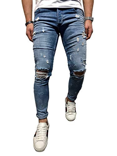 BMEIG Jeans Hombres Rotos Slim Fit Ripped Estiramiento Rodilla Destruido Flaco Denim Apenado Biker Jeans Diseñador Clásico Orificios Hip Hop Pantalones Talla M