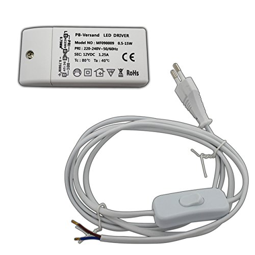 Preisvergleich Produktbild LED Leuchtmittel Trafo 0, 5-15 Watt 12V DC mit weißem Netzkabel und Handschalter