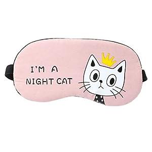 HEALIFTY Katze Cartoon Augenmaske Print Ice Compress Schlafmaske Augenbinde für Frauen Mädchen