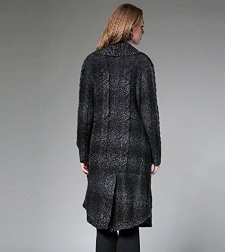 Dooxi Femme Automne Elegant Manche Longue Tricoté Cardigan Décontractée Slim Fit Longue Cardigans Noir