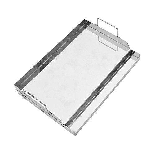 Universal Grill Pfanne (Onlyfire Universal BBQ Edelstahl Plancha Grillplatte Griddle für Holzkohle Grillwagen, Gasgrill und mehr, Rechteckig,(B)51 x (T) 32 x (H) 12.4 cm)