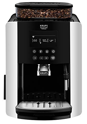 Krups EA8178 Arabica Display Quattro Force Kaffeevollautomat (1450 Watt, Wassertankkapazität: 1,8l, Pumpendruck: 15 Bar, LCD-Display) schwarz/carbon-optik (Kaffeemühle Krups)