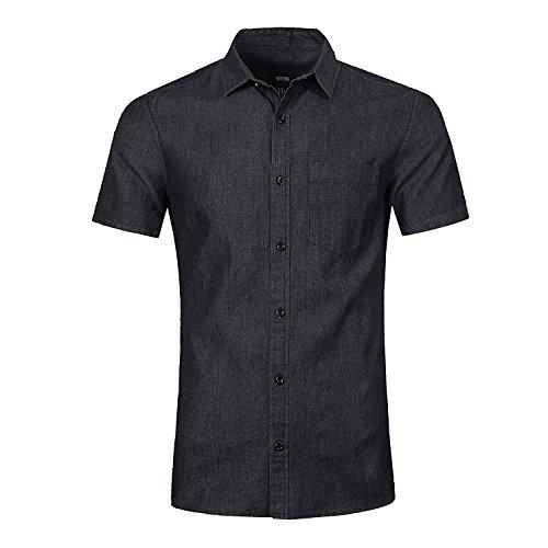 Nutexrol Herren Jeanshemden Kurzarmhemd Regular Fit Denim Shirt Cowboy-Style Freizeithemd Schwarz XL