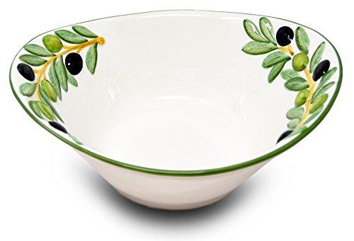 Lashuma handgemachte italienische Keramikschale im Olivendesign, ovale Salatschüssel Keramik ca. 25 x 21 x 8,5 cm -