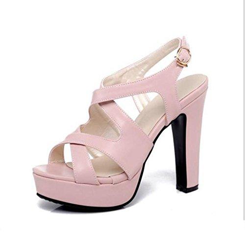 W&LM Signorina Tacchi alti sandali Aria Piattaforma impermeabile È buono Bocca di pesce sandali Pink