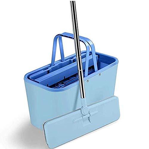 GAOJIN Wischsystem Mop, Wischmop Eimer Mit 5 Kammer System Flacher Mopp, Dry Wet Dual-use-flachschaber Double Barrel Handfreier Mehrzweck-mopp -