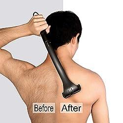 Supcare Set Depiladora de Espalda para Hombre Sin Dolor Herramienta Manual de Cuerpo Afeitadora Plegable Negro