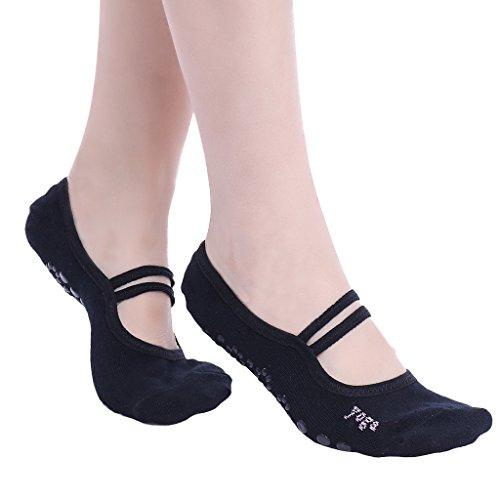 YiZYiF Femme Filles Chaussettes de Sport Anti-dérapante Semelle Silicone pour Danse, Yoga, Pilates, etc (Noir, Longueur:7.5-9.0'')