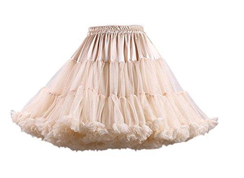 Honeystore Damen Mädchen Kinder Tanzen Ballett Tutu Rock Ballett Pettiskirt Prinzessin Tanz Röckchen Tutu Kostüme Champagner One Size