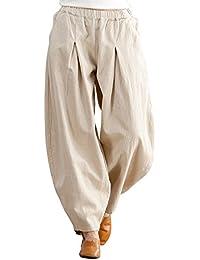 Aeneontrue Mujer Pantalones Lino Pantalones Plisados con Pierna Ancha  Holgada Casual Suelto con Cintura elástica e64e03bac56f