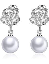 Wiftly Femme Fille boucles d'oreilles en Argent 925 et Zirconium Rose Fleur Boucles d'oreilles Longues Perlen de Noël Cadeaux Clips