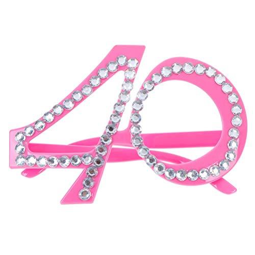 Bloomeet Brille zum 40. Geburtstag, Party-Brille, Foto-Requisiten, Geburtstag, Party, Kostüm, Zubehör für Mutter und Vater, Geburtstagsgeschenk, Pink (Kostüm Für Väter)