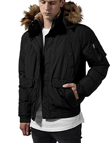 Urban Classics TB1455 Herren Jacke Hooded Heavy Bomber Jacket, Gr. Small, Schwarz (black 7)