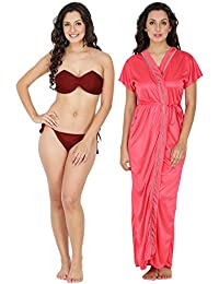 Klamotten Satin Women Sexy Nightwear and Bikini Set Combo 221M-128H