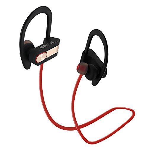 Oreillette Bluetooth de sport,Coio Baignez Casque Antibruit de 4,1 écouteurs Stéréo sans Fil Bluetooth Oreillette Bluetooth de Sport Gym, Exercice, Sport, Course et Activités de Plein Air (Rouge)