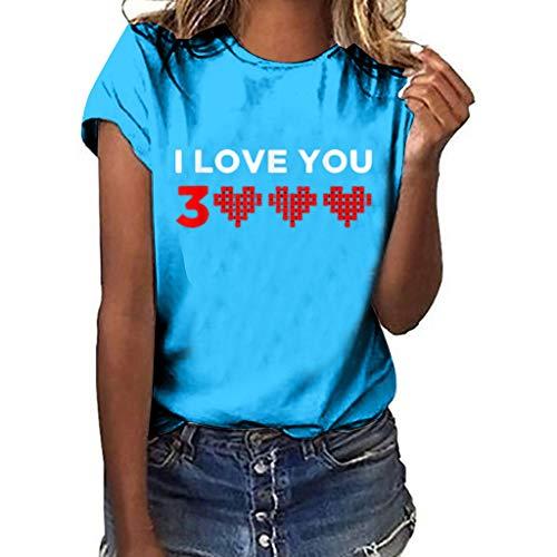 fb00d92cf9 Xmiral Camicetta a Manica Corta Donna T-Shirt Manica Corta da Donna Ti Amo  tremila