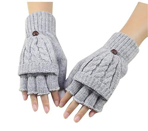 Frau Fallen Dicke Handschuhe Warm Gestrickt Eingabe Schreiben Finger Mode Marken Flip Niedlich Koreanisch Student (Color : 1, Size : One Size) (Eingabe Handschuhe Von Warm)