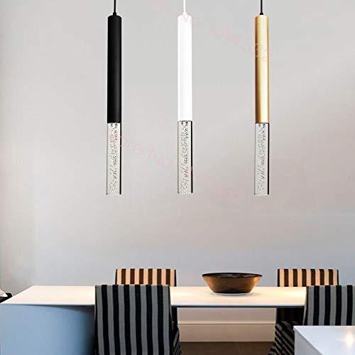 Lámpara colgante LED luces colgantes cocina isla comedor Bar decoración cilindro tubo luces cocina, cilindro blanco, 300 mm, blanco frío