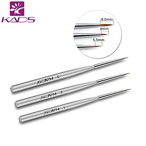 Kads 3pcs/set profesional Cepillo arte clavo UV Gel