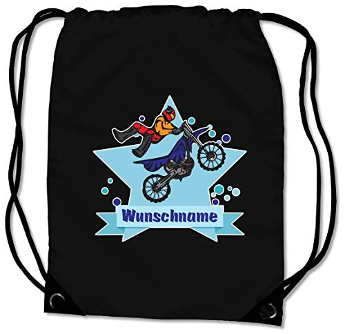 Samunshi® Turnbeutel mit Motorrad Fahrer und Name für Jungen und Mädchen personalisierbar personalisiert mit Namen Sportbeutel für Schule Sport Sporttasche schwarz
