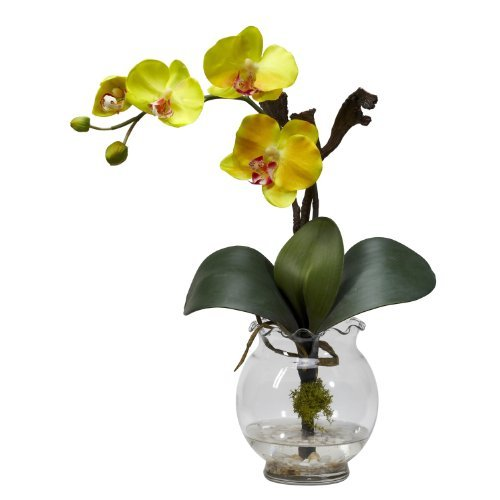 Fluted Vase (Nearly Natural 1277-YL Mini Phalaenopsis with Fluted Vase Silk Flower Arrangement, Yellow by Nearly Natural)