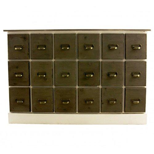 Cassettiera in legno sbiancato Cassettiera a 18cassetti settimanale Credenza di due grainetier Scarpiera 40x 80x 120cm