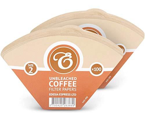 EDESIA ESPRESS - Pack de 200 filtros de papel para café - Forma de cono - Sin blanquear - Marrón ...
