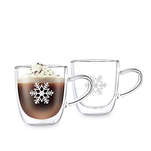 Doppelwandige Glühweinbecher Thermo-Gläser mit Henkel | 2 x 350ml große Schneeflocke-Tassen mit Schwebeeffekt | Auch für Kakao, Tee, Milch-Kaffee, Cappuccino. Das GlühweinGlas / die GlühweinGläser sind Handarbeit in höchster Qualität – Winter Edition