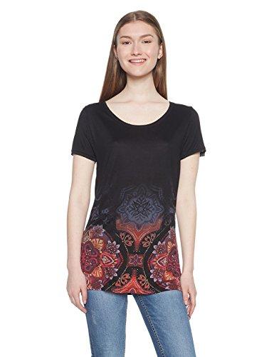 Desigual TS_Leonor, Camiseta para Mujer, (Negro 2000), X-Large
