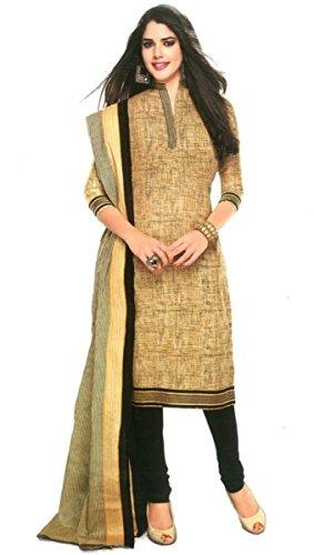 Shree Ganesh Clothing Women Cotton Salwar Suit Dress Material (Sgs- 222 _Cream _Free Size)