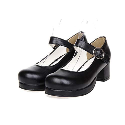 PINGXIANNV Süße Lolita Maid Cosplay Schuhe Starke Ferse Schulmädchen Uniform,37