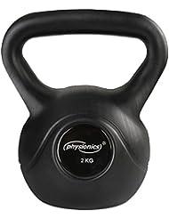 Physionics - Kettlebell o pesa rusa esférica para la musculación en color negro – 20 kg