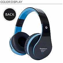 K-DD Auriculares inalámbricos Bluetooth sobre la oreja - Super Bass Huge Muff Auriculares Bluetooth 16 horas de juego, construido en Micrófono de llamada con un cable auxiliar y un estuche portátil , 1