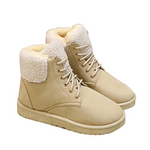Frauen Winter Warm schnüren sich oben Schnee-Knöchel-Aufladungen flache Schuhe (39, Rot)