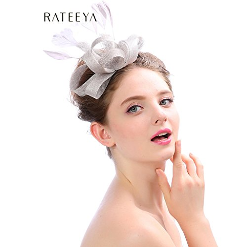 (Fascinators Hüte Für Frauen Bänder Federn Headwear mit Schleier Blume Mesh Derby Hut Cocktail Hochzeit Tea Party,Silver)