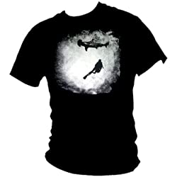 Blue Ray T-Shirts para Hombre Noche Buceo con Tiburones Hammerhead Buceador Camiseta Negro Negro Large