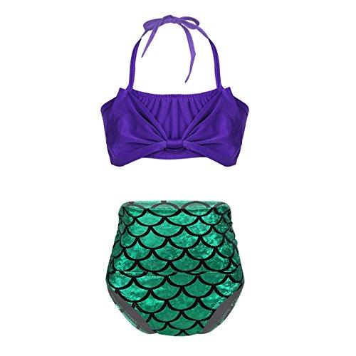 teiler Badeanzug/ Zweiteiler Bikini Tankini mit Schleifen Haarband 2 tlg. Set Kinder Meerjungfrau Kostüm zum schwimmen Bademode Badekleidung gr. 74-140 (Zweiteiler, 122-128/7-8 Jahre) (Fisch Kostüm Kleinkind)
