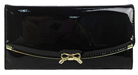 Kukubird Patent Glossy Faux Leather With Front Metal Bow Detail Large Ladies Purse Clutch Wallet - Black