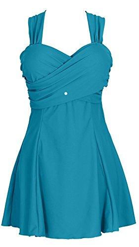 Eleganter Einteiliger Damen Badeanzug mit Röckchen Bandeau Badekleid mit Push Up Effekt Schwimmanzug mit flachem Bauch (Bademode Jantzen-womens)