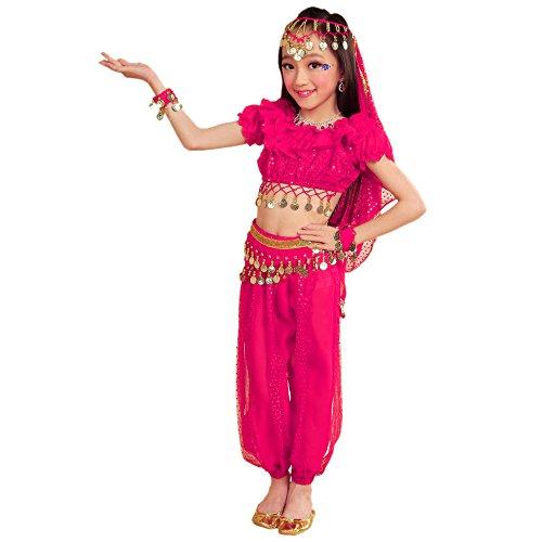 Indischen Mädchen Der Kostüm - BOZEVON Indisches Bauchtanz-Kostüm der Mädchen - Berufstanz-Tanz-Kleid-Kleidung, Oberseiten + Hosen + Taillenketten + 2 Bracelets + Schleier (Rose Rot, EU S = Tag M)