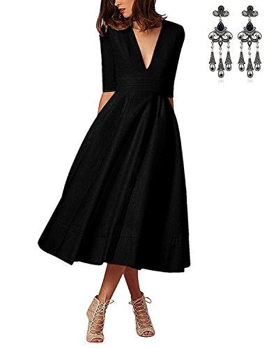 MODETREND Mujer Vestidos Elegante Manga 3/4 de Deep V-Neck Vestido de Fiesta de Noche Negro XXL