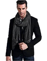 Prettystern - longue soie écharpe 190 cm Tie-Dye lavés optique tissu de couleur unie Femmes Hommes - sélection des couleurs