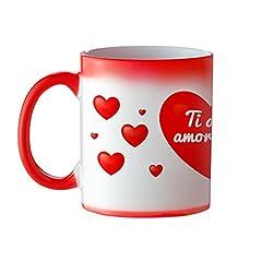 Idea Regalo - Casa Vivente Tazza Magica in Ceramica con Rivestimento Termosensibile Rosso a Cuori, Cambia Colore, Ti Amo Amore Mio, Mug Colazione Termica, San Valentino