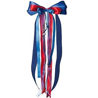 alles-meine.de GmbH große 3-D Schleife - 24 cm breit u. 55 cm lang -  blau & rot - Auto  - Geschenkschleife / Geschenkband mit edlen Satin Bändern, Tüll & Bastband - für Gesche..