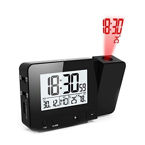 PTICA Proyección Despertador Fecha Digital Función de Despertador Retroiluminación Proyector Mesa...