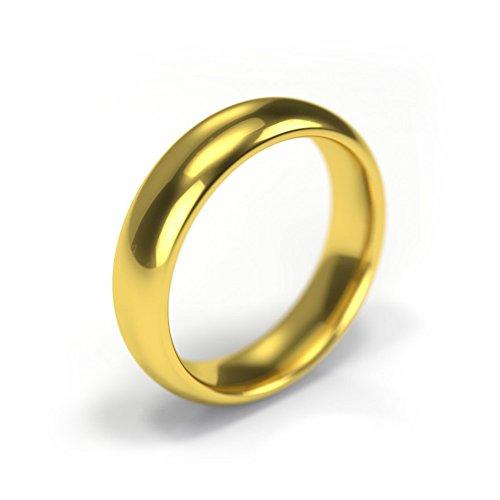 Theia-Anello nuziale In oro giallo 18 ct-Fede nuziale 5 mm qualità, realizzato a mano nel (Oro Giallo Mens Wedding Band)
