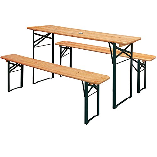 Wooden Outdoor Party Table Set 2x Benches w/Parasol Hole – German Beer Garden Furniture Heavy Duty | Folding, Trestle, Camping, Catering, BBQ, Banquet, Ale Bench 180cm / 5.9 ft Length