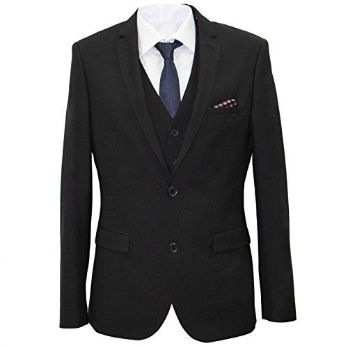 carter & jones Black Big & Tall 3 Piece Tailored Fit Suit 52S