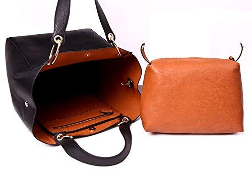 Tibes moda faux della borsa del cuoio della borsa grande tote per le donne Profondo blu
